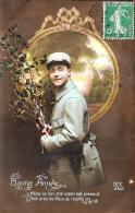 [DC3204] CPA - AUGURALE - BONNE ANNEE - Viaggiata 1916 - Old Postcard - Patrióticos