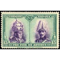 ES424STV-LFT***424S.Spain.Esgane.Papa PIO   Xl Y Rey ALFONSO Xlll.CATACUMBAS DE SAN DAMASO EN ROMA.1928 (Ed 424**) - 1889-1931 Reino: Alfonso XIII