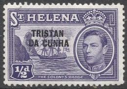 Tristan Da Cunha. 1952 KGVI Stamps Of St Helena O/P. ½d MH. SG 1 - Tristan Da Cunha