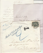 """EAC N°30  O. Bruxelles, Griffe """"Ministre De L'Education Publique"""", Taxée """"2""""  (2 Scans) - 1869-1883 Leopold II"""