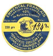 """1 Etiquette  De Fromage EMMENTAL FRANCAIS """"LA VACHE SERIEUSE """" Fab.EST CENTRAL - GROSJEAN à LONS LE SAUNIER (JURA) - Cheese"""