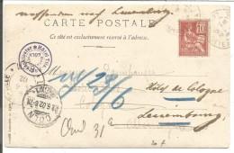 CARTE DE LYON POUR COLOGNE DU 22/6/1902 - Marcophilie (Lettres)