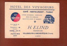 1 Carte - Cafe Restaurant Hotel Des Voyageurs - Elind - Villeneuve L Archeveche - Cartes De Visite