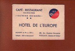 1 Carte - Cafe Restaurant Hotel De L Europe - Persan - Cartes De Visite