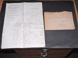 Lettre + Enveloppe à En-tête De La BRASSERIE LOUIS-tenue Par J.WITMANN DU MONCEAU Bruxelles Rue Royale Datée 20/8/1897 - Vieux Papiers