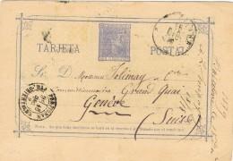 19246. Entero Postal  BARCELONA 1879. Trebol.circulada A Suiza