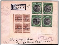 Bahamas: Raccomandata, Registered, Recommandé, Approdo Di Clombo Sull'isola, Landing Of Columbus On The Island, Débarque - Cristóbal Colón