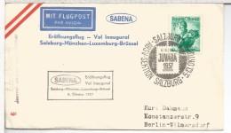 AUSTRIA CC PRIMER VUELO 1957 SABENA SALZBURG MÜNCHEN LUXEMBURG BRÜSSEL AL DORSO MAT MUNCHEN - Aéreo