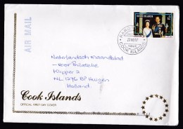 Cook Islands: FDC First Day Cover To Netherlands, 1997, Single Franking, Wedding Anniversary Queen (traces Of Use) - Cookeilanden