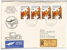 NACIONES UNIDAS WIEN CC CERTIFICADA 1981 VUELO WIEN MALTA AL DORSO LLEGADA - Aéreo