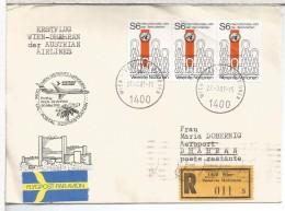 NACIONES UNIDAS WIEN CC CERTIFICADA 1981 VUELO WIEN DHAHRAN AL DORSO LLEGADA - Aéreo