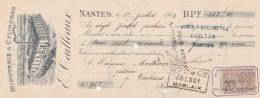 Lettre Change 1/7/1904 E CAILLEAUX Minoterie NANTES Loire Atlantique Pour Carhaix Finistère - Lettres De Change