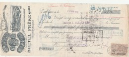 Lettre Change 16/1/1910 BRETEL Frères Beurre D'Isigny VALOGNES Manche Pour Bussières Les Bellemont Haute Marne - Bills Of Exchange