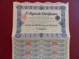 ACTION DE 100 FRS L'AGRICOLE CHERIFIENNE  BELLE DECO - Afrique