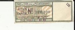 Action De Capital_(Paris A Lyon Et A La Mediterranée)  No 726200 _Interet Et Dividende De 1924 (Solde Payable Le 1er Mai - Chemin De Fer & Tramway