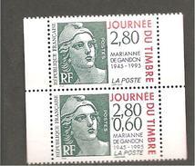 N° 2933 / 2934 FRANCE - JOURNEE DU TIMBRE MARIANE DE GANDON - France