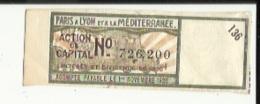Action De Capital_(Paris A Lyon Et A La Mediterranée)  No 726200 _Interet Et Dividende De 1925 (Solde Payable Le 1er Mai - Railway & Tramway