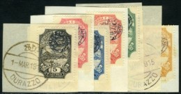 Central Albania. Essad Pasha, 1915. Stanley Gibbons #55-61 Used. Set Of Seven On Fragments. VF To Superb. - Albania
