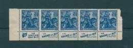!!! 50C JEANNE D'ARC : BANDE DE 5 AVEC PUBS VACHE QUI RIT NEUVE ** - Advertising
