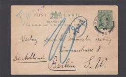 E.P. DE PRETORIA POUR BERLIN,TAXE.GANZSACHE VON PRETORIA NACH BERLIN MIT PORTO STPL. - África Del Sur (...-1961)