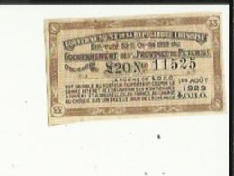 Emprunt De 5 1/2 % Or De 1913 (Gouvernement De La Province De Petchili Obligation De S20 No 11525 -1er Aout 1929 LO.II.O