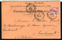 Carte Postale Privée Charles Wathelet De Fourmies Pour Lambusart ( Belgique 1902 ) - 1849-1876: Klassik