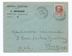 1503 - Lettre Boucherie Charcuterie MENARD à Chatelais 49 - Pétain 1943 WW2 - Marcofilie (Brieven)