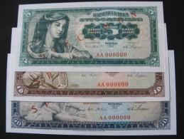 Set Of Banknotes Socialist Yugoslavija 1965(P-77,78,79) UNC-specimen - Yugoslavia