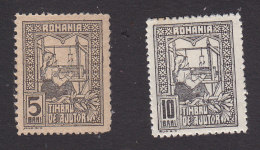Romania, Scott #RA3, RA6, Mint Hinged, Queen Weaving, Issued 1916 - Fiscali