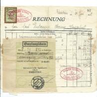 1 Rechnung über RM 92,92 - Eberstein, 24.6.1938 Mit Aufgeklebter Stempelmarke 50 Groschen Aus 1936 - Austria