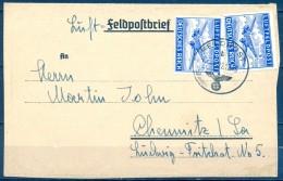 1943 , ALEMANIA , FELDPOST , SOBRE CIRCULADO A CHEMNITZ , SELLO DE FRANQUICIA MILITAR YV. 1 - Cartas