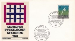 Germany Sc#1118, 15th Meeting German Protestants, 30pf 25 May 1973 Issue, First Day Of Issue Illustrated Cover - [7] Federal Republic