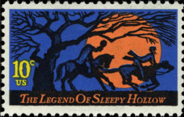 1974 USA Legend Of Sleepy Hollow Stamp Sc#1548 Horse Crane Moon Tree Fairy Tale Halloween Folk - Climate & Meteorology