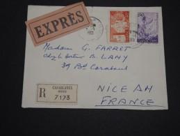 MAROC -  Enveloppe En Recommandée Exprès ( étiquettes) De Casablanca Pour La France En 1961 - A Voir - L 2237 - Maroc (1956-...)