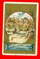 Chromo Sans Publicité Lith. Vieillemard, Fables La Fontaine, L'alouette & Ses Petits Avec Le Maître D'un Champ - Louit