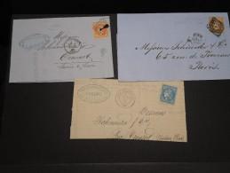 FRANCE - Lot De 3 Lettres Dont  Une Arrivée Du 1 Er Janvier 1871 - A Voir - L 2295 - 1849-1876: Classic Period