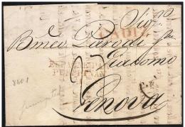 Spagna/Spain/Espagne: 6/3/1835, Da Cadice A Genova, Taglio Disinfezione, Désinfection De Coupe, Cutting Disinfection - Spagna