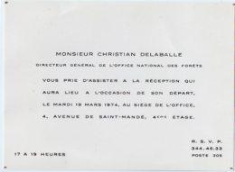 VP5503 - Carte - Carton D'invitation - Mr Christian DELABALLE Directeur Général De L'Office National Des Forets à PARIS - Cartes