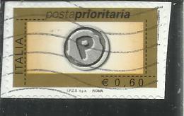 ITALIA REPUBBLICA ITALY REPUBLIC 2006 2008 POSTA PRIORITARIA PRIORITY MAIL € 0,60 USATO USED OBLITERE' - 2001-10: Gebraucht