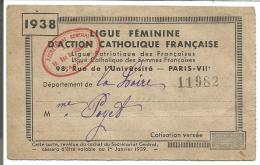 CARTE DE LA LIGUE FEMININE D'ACTION CATHOLIQUE FRANCAISE - LYON 1938 - Cartes De Visite