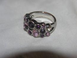 (N) Ancienne Bauge Style Argent / Bague Décoration Style Rubis / Bague Chromé Style Argent - Rings