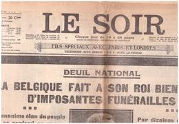 N 54 Le Soir  Vendredi  23 Fevrier  1934  DEUIL DU ROI ALBERT - 1950 - Heute