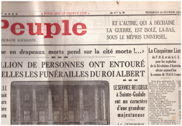 54 JOURNAL LE PEUPLE    Mort ET Funerailles  Du Roi ALBERT   23 Fevrier 1934 - Journaux - Quotidiens