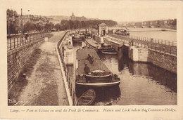 Liège - Port Et Ecluse En Aval Du Pont De Commerce (animée, Péniches, Desaix) - Liege