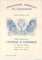 APPLICATIONS GENERALES DU CAUTCHOUC MAISON FONDEE EN 1852 ETABLISSEMENTS CRAUSAZ & FOURNIER A MARSEILLE YEAR 1950 - Werbung
