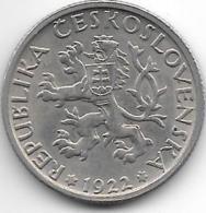 *czechoslovakia 1 Korun 1922  Km 4  Xf+ - Tchécoslovaquie