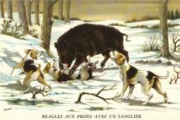 Buvard  Publicité Biolactyl - Illustration Horber -   Thème CHIEN  -   BEAGLES Aux Prises Avec Un Sanglier