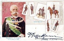 [DC9670] CPA - UMBERTO I° ROI D'ITALIE SUR LE TRONE EN 1878 - ARMEE ITALIENNE - Viaggiata 1900 - Old Postcard - Case Reali