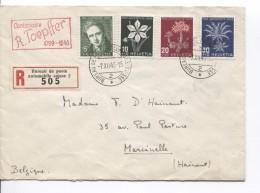 Suisse-Switzerland PT Pro Juventute 1946 S/L.recommandée C.Bureau De Poste Automobile Suisse 2 7/12/46 V.Belgique PR3482 - Pro Juventute