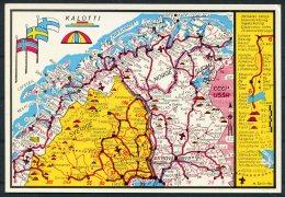 Kalotti Finland Sweden Norway, Arctic Circle Map Postcard - Finland